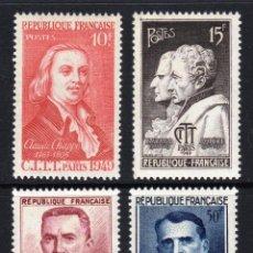 Timbres: FRANCIA 1949 IVERT 844/7 *** CONGRESO INTERNACIONAL DE TELEGRAFÍA Y TELEFONÍA - PERSONAJES. Lote 114820123