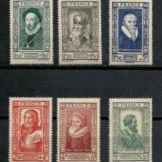 Sellos: FRANCIA 1943 IVERT 587/92 * PERSONAJES CELEBRES DEL SIGLO XVI. Lote 115724379