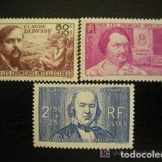 Sellos: FRANCIA 1940 IVERT 462/4 *** PRO INTELECTUALES - PERSONAJES. Lote 117836659