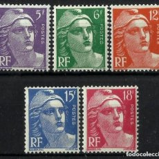 Sellos: FRANCIA 1951 IVERT 883/7 *** MARIANNE DE GANDON - PERSONAJES. Lote 118347355