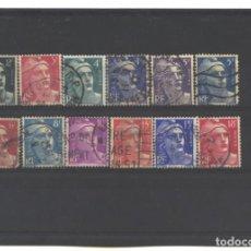 Sellos: FRANCIA 1945-54 - LOTE DE 12 SELLOS MARIANNE DE GANDON - USADOS. Lote 124484067