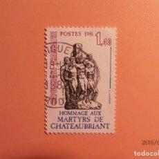Sellos: FRANCIA 1981 - HOMENAJE A LOS MARTIRES DE CHATEAUBRIANT.. Lote 127512843