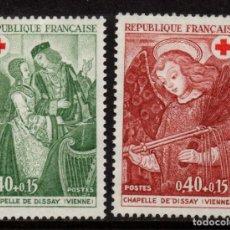 Sellos: FRANCIA 1661/62* - AÑO 1970 - CRUZ ROJA - PINTURA - FRESCOS DE LA CAPILLA DE DISSAY. Lote 128545079