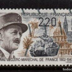 Sellos: FRANCIA 2499 - AÑO 1987 - 40º ANIVERSARIO DE LA MUERTE DEL GENERAL LECLERC. Lote 128545471