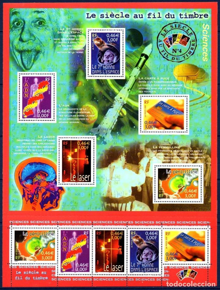 FRANCIA.- HOJA BLOQUE YVERT 3561/5KB, LA CIENCIA EN EL SIGLO, AÑO 2001, EN NUEVA (Sellos - Extranjero - Europa - Francia)