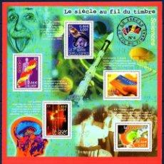 Sellos: FRANCIA.- HOJA BLOQUE YVERT 3561/5KB, LA CIENCIA EN EL SIGLO, AÑO 2001, EN NUEVA. Lote 131733218