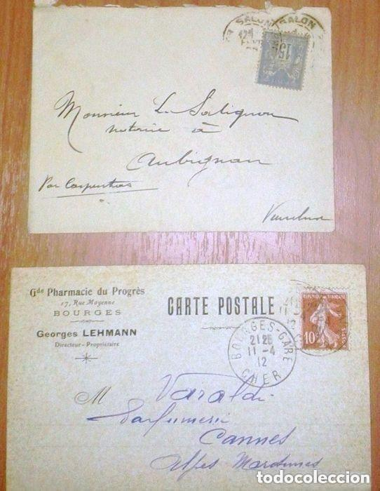 SOBRES CIRCULADOS FRANCIA 2 CARTAS POSTAL. 1900 Y 1912 (Sellos - Extranjero - Europa - Francia)