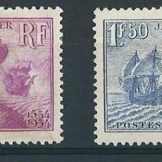 Sellos: FRANCIA 1934 Y&T 296/97** JACQUES CARTIER . Lote 138655042