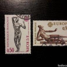 Sellos: FRANCIA. YVERT 1789/90. SERIE COMPLETA USADA. 1974. EUROPA CEPT. ESCULTURAS. DESNUDOS. Lote 143554050