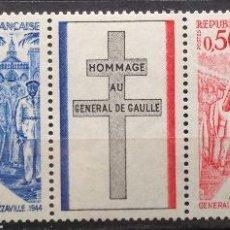 Sellos: FRANCIA FRANCE 1971 YVERT 1695-98 NUEVOS MNH DE GAULLE. Lote 144595182