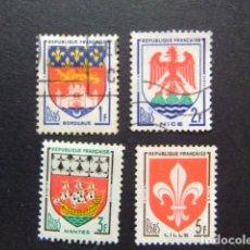 Sellos - Francia 1958 Armoiries de villes Escudos de Ciudades Yvert 1183 / 86 FU incomplet - 145055306