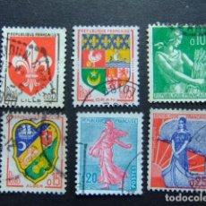 Sellos: FRANCIA 1959 ARMOIRIES DE VILLES ESCUDOS DE CIUDADES YVERT 1230 / 34 FU INCOM.. Lote 145062854