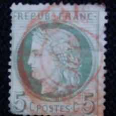 Sellos: SELLO POSTE REPUBLICA FRANCESA, 5 CENT, 1876, BURDEAUX, USADO. Lote 146283494