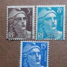 Sellos: 3 SELLO POSTE REPUBLICA FRANCESA, 3-8-15 FR.. 1951, NUEVO. Lote 146296162