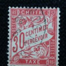 Sellos: SELLO POSTE REPUBLICA FRANCESA, 30 CENT.A PERCEVOIR, TAXE,1893, USADO. Lote 146297798