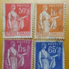 Sellos: 4 SELLOS POSTE REPUBLICA FRANCESA, RAMA OLIV0,1932 , USADO. Lote 146428422