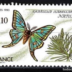 Timbres: 1980 FRANCIA FAUNA MARIPOSA GRAELLI ISABELLE YVERT 2089 NUEVO MNH**. Lote 146784706