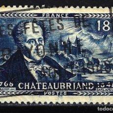 Sellos: FRANCIA 1948 YVERT Nº 816 USADO CON CHARNELA - CENTENARIO MUERTE DE CHATEAUBRIAND. Lote 147654722