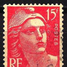 Sellos: FRANCIA 1949 YVERT Nº 813 USADO CON CHARNELA - MARIANNE GANDON. Lote 147656318