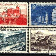 Sellos: FRANCIA 1949 YVERT Nº 841A/843 USADOS CON CHARNELA - PAISAJES Y MONUMENTOS. Lote 147656914
