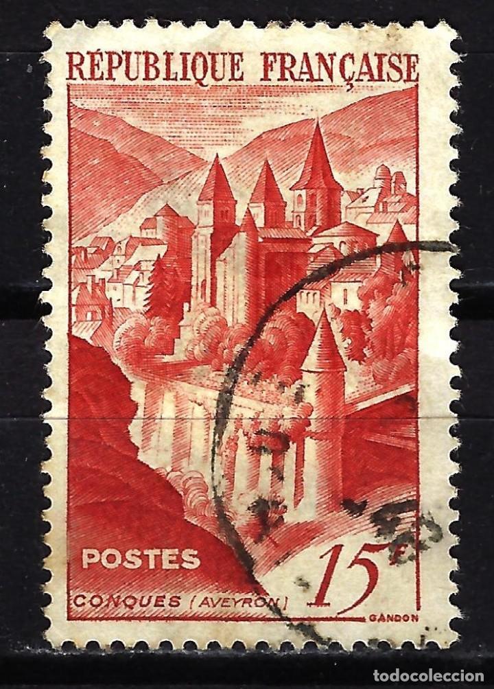 FRANCIA 1947 YVERT Nº 792 USADO CON CHARNELA - ABADÍA DE CONQUES (Sellos - Extranjero - Europa - Francia)