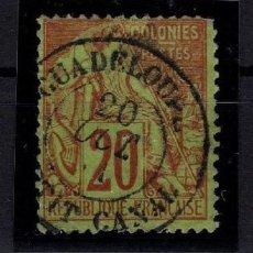 Sellos: SELLO COLONIA FRANCESA ISLA DE GUADALUPE V. CAT. 275€ APROX.Y CERTIFICADO. Lote 148095790