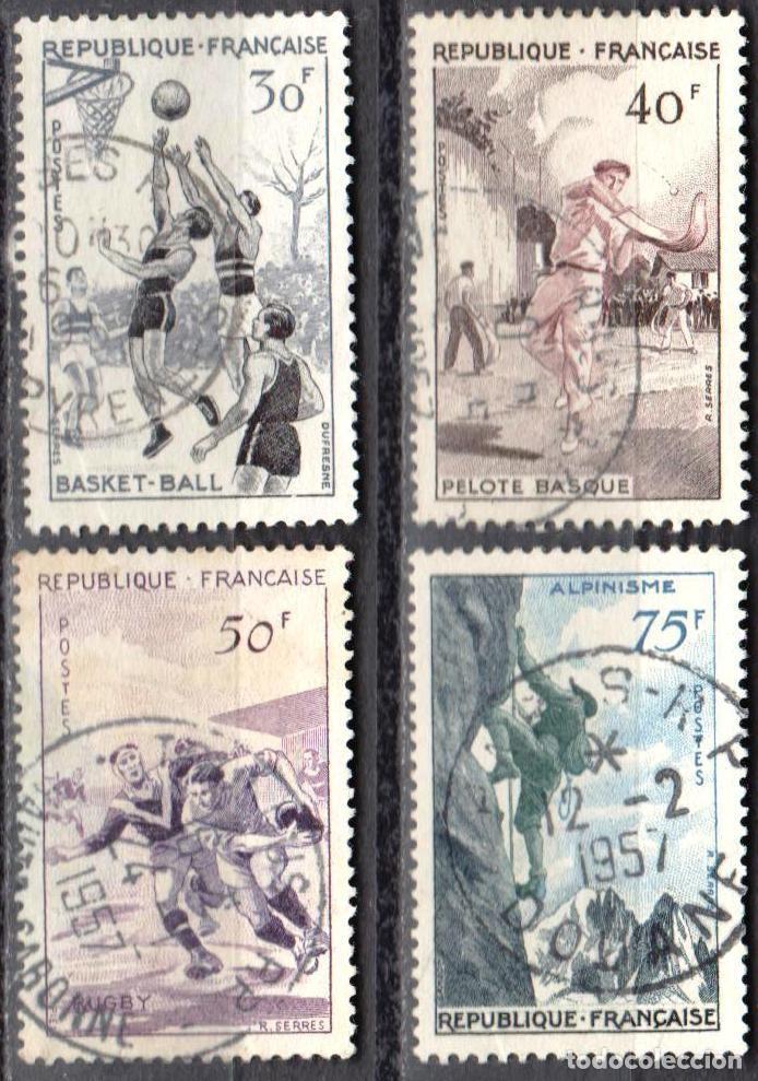 FRANCIA - 1 SERIE IVERT 1072-75 (4 VALORES) - DEPORTES 1956 - USADO (Sellos - Extranjero - Europa - Francia)