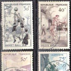 Sellos: FRANCIA - 1 SERIE IVERT 1072-75 (4 VALORES) - DEPORTES 1956 - USADO. Lote 152321858