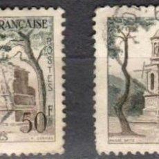 Sellos: FRANCIA - 2 SELLOS IVERT 1130 (1 VALOR) - TURISMO 1957 - USADO. Lote 152322774