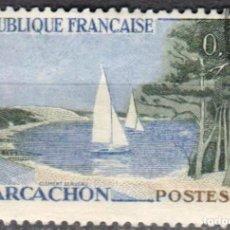 Sellos: FRANCIA - 1 SELLO IVERT 1312 (1 VALOR) - TURISMO 1961 - USADO. Lote 152324394