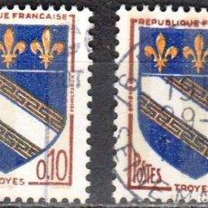 Sellos: FRANCIA - 2 SELLOS IVERT 1353 (1 VALOR) - ESCUDO DE ARMAS 1963 - USADO. Lote 152326278