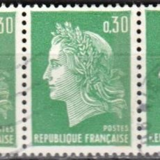 Sellos: FRANCIA - 3 SELLOS IVERT 1536A (1 VALOR) - MARIANNE DE CHEFFER 1967 - USADO. Lote 152335578