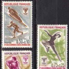 Sellos: FRANCIA - 1 SERIE IVERT 1543-47 (5 VALORES) - JUEGOS DE INVIERNO GRENOBLE 1968 - NUEVO GOMA ORIGINAL. Lote 152336410