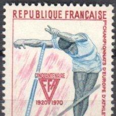 Sellos: FRANCIA - 1 SERIE IVERT 1650 (1 VALOR)- CAMPEONATO ATLETISMO EUROPEO JUNIOR 1970 - NUEVO GOMA ORIGI. Lote 152338594