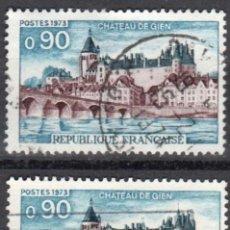 Sellos: FRANCIA - 2 SELLOS IVERT 1758 (1 VALOR) - CHATEAU DE GIEN 1973 - USADO. Lote 152361210