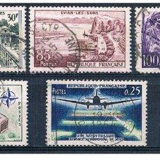 Sellos - Francia 1959 - Yvert 1192 / 94 + 1196 + 1228 + 1234 ( Usados ) - 153456478