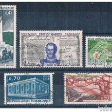 Sellos: FRANCIA 1969 - YVERT 1583 + 1599 + 1604 + 1614 + 1618 ( USADOS ). Lote 153590130