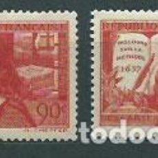 Sellos: FRANCIA - CORREO 1937 YVERT 341/2 ** MH DESCARTES. Lote 153764354