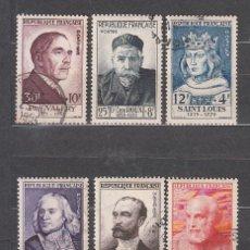 Sellos: FRANCIA - CORREO 1954 YVERT 989/94 O PERSONAJES DEL SIGLO XIII Y XX. Lote 153766620