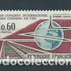 Sellos: FRANCIA - CORREO 1966 YVERT 1488 ** MNH TRENES. Lote 153769193