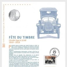 Sellos: FRANCE 2019 - STYLISH CARS - CITROËN TYPE A10 HP PHILATELIC DOCUMENT. Lote 155534566