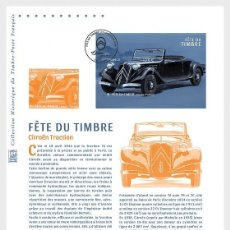 Sellos: FRANCE 2019 - STYLISH CARS - CITROËN TRACTION PHILATELIC DOCUMENT. Lote 155534694