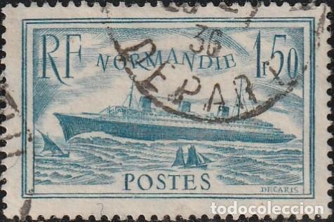FRANCIA 1934-36. PAQUEBOT NORMANDIE. IVERT #300 B, AZUL TURQUESA. *.MH. (Sellos - Extranjero - Europa - Francia)