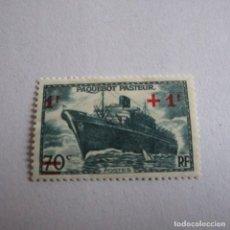 Sellos: FRANCIA 1941, YVERT Nº 502*, PAQUEBOT PASTEUR. FIJASELLOS. Lote 160291418