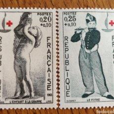 Sellos: FRANCIA:N°1400/01 MNH, CRUZ ROJA AÑO 1963. Lote 163447105