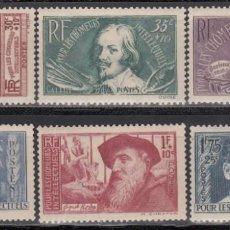 Sellos: FRANCIA, 1938 YVERT Nº 380 / 385 /*/ . Lote 165543978