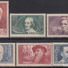 Sellos: FRANCIA, 1938 YVERT Nº 380 / 385 /*/ . Lote 165544006
