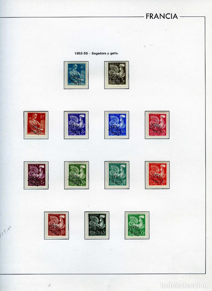 SELLOS FRANCIA AÑO1953-1959(13 VALORES)-IVERT.106/118-LEYENDA SEGADORA Y GALLO-TIMBRES PREOBLITERÉS. (Sellos - Extranjero - Europa - Francia)