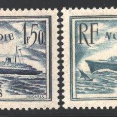 Sellos: FRANCIA 1935-36 YVERT 299-300, BARCO NORMANDIE - NUEVO **. Lote 166384582