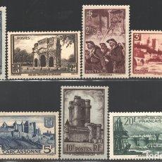 Sellos: FRANCIA 1938 YVERT 388-94, MONUMENTOS Y TRADICIONES FRANCESAS, CHAMPAGNE, CARCASSONNE - NUEVO **. Lote 166403110